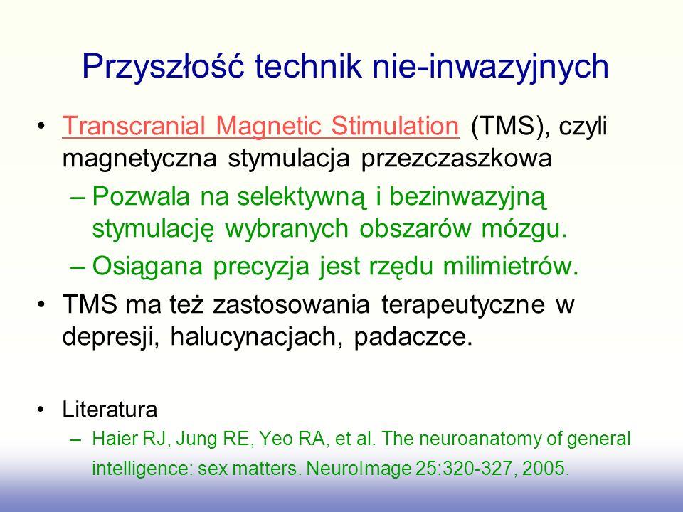 Transcranial Magnetic Stimulation (TMS), czyli magnetyczna stymulacja przezczaszkowaTranscranial Magnetic Stimulation –Pozwala na selektywną i bezinwa