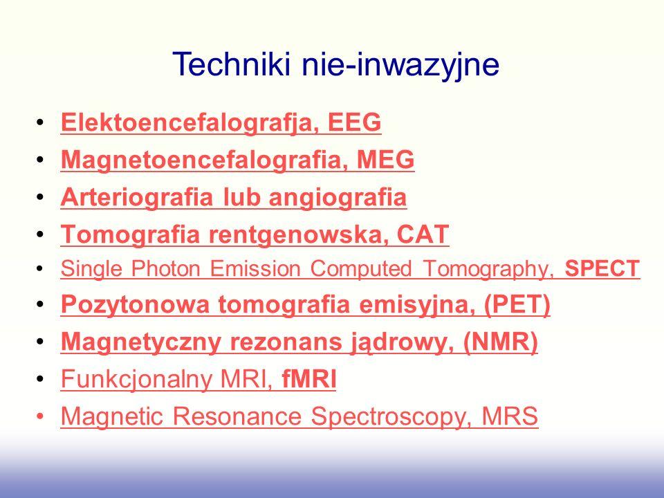 Elektoencefalografja, EEG Magnetoencefalografia, MEG Arteriografia lub angiografia Tomografia rentgenowska, CAT Single Photon Emission Computed Tomogr
