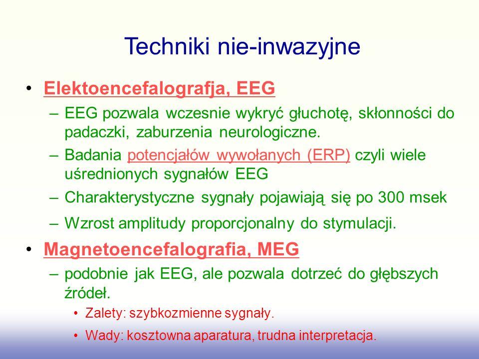 Elektoencefalografja, EEG –EEG pozwala wczesnie wykryć głuchotę, skłonności do padaczki, zaburzenia neurologiczne. –Badania potencjałów wywołanych (ER