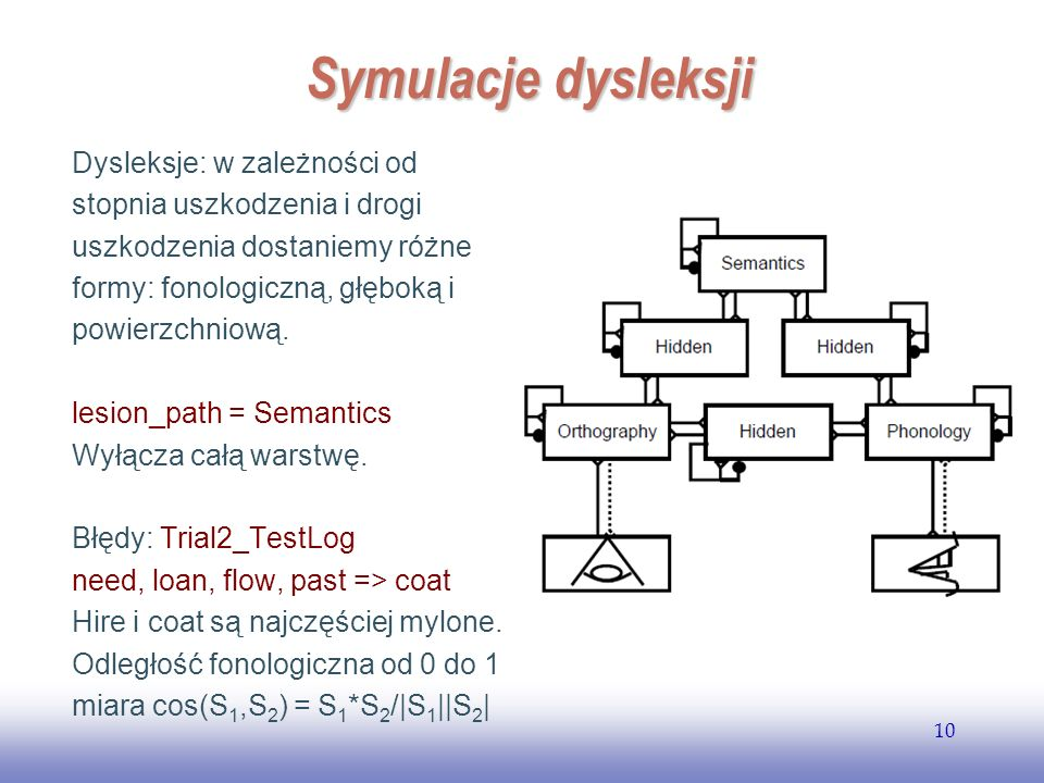 EE141 10 Symulacje dysleksji Dysleksje: w zależności od stopnia uszkodzenia i drogi uszkodzenia dostaniemy różne formy: fonologiczną, głęboką i powier