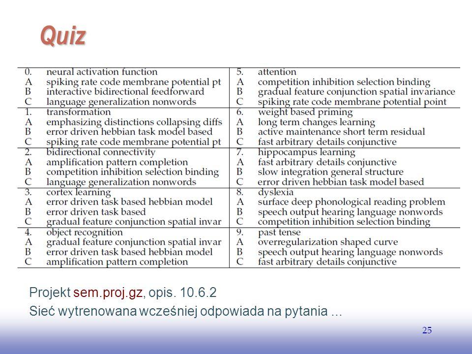 EE141 25 Quiz Projekt sem.proj.gz, opis. 10.6.2 Sieć wytrenowana wcześniej odpowiada na pytania...