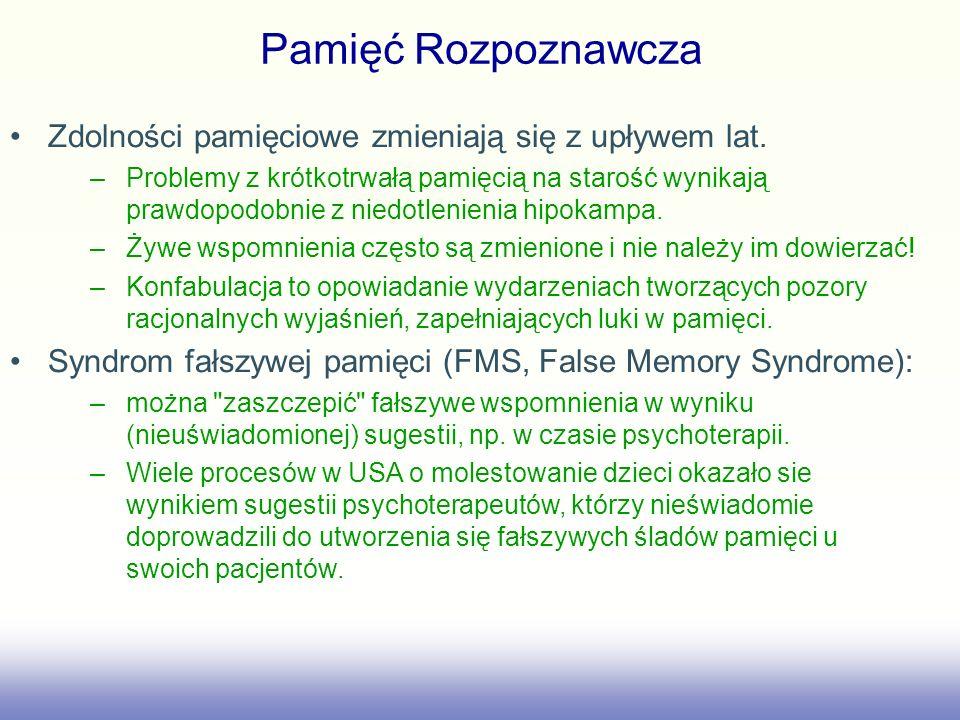 Pamięć Rozpoznawcza Zdolności pamięciowe zmieniają się z upływem lat. –Problemy z krótkotrwałą pamięcią na starość wynikają prawdopodobnie z niedotlen