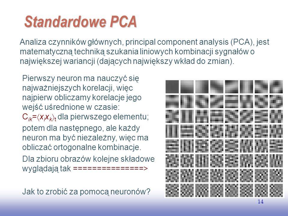 EE141 14 Standardowe PCA Analiza czynników głównych, principal component analysis (PCA), jest matematyczną techniką szukania liniowych kombinacji sygnałów o największej wariancji (dających największy wkład do zmian).