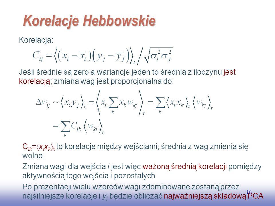 EE141 16 Korelacje Hebbowskie Jeśli średnie są zero a wariancje jeden to średnia z iloczynu jest korelacją; zmiana wag jest proporcjonalna do: C ik = x i x k t to korelacje między wejściami; średnia z wag zmienia się wolno.