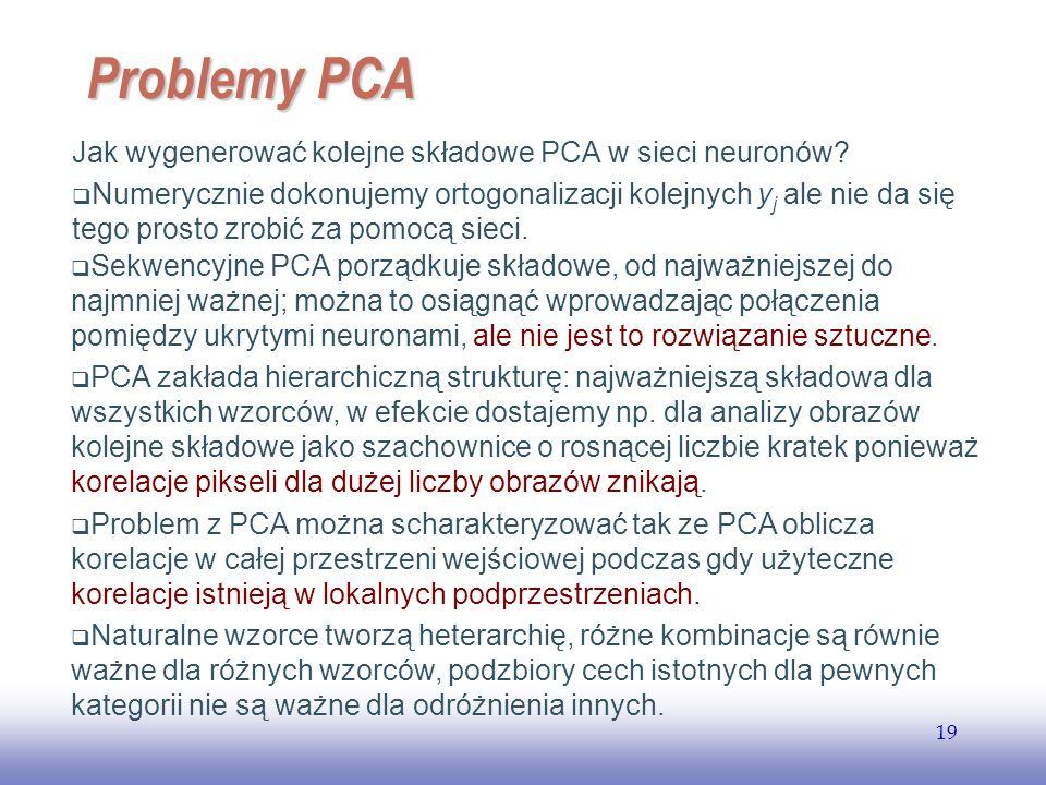 EE141 19 Problemy PCA Jak wygenerować kolejne składowe PCA w sieci neuronów? Numerycznie dokonujemy ortogonalizacji kolejnych y j ale nie da się tego