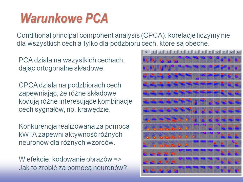 EE141 20 Warunkowe PCA Conditional principal component analysis (CPCA): korelacje liczymy nie dla wszystkich cech a tylko dla podzbioru cech, które są