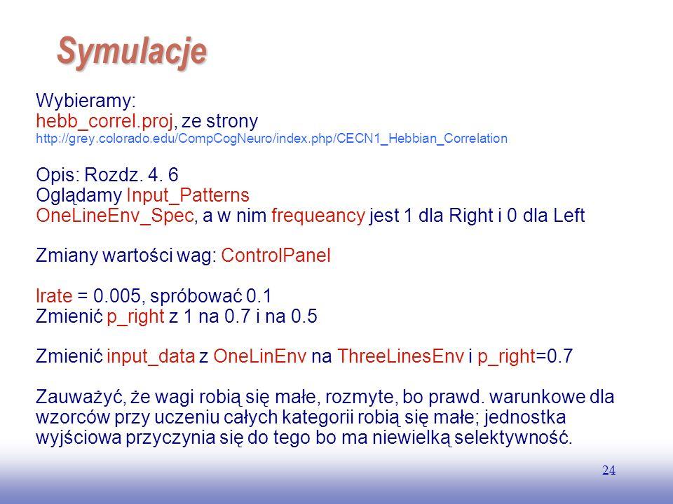 EE141 24 Symulacje Wybieramy: hebb_correl.proj, ze strony http://grey.colorado.edu/CompCogNeuro/index.php/CECN1_Hebbian_Correlation Opis: Rozdz. 4. 6