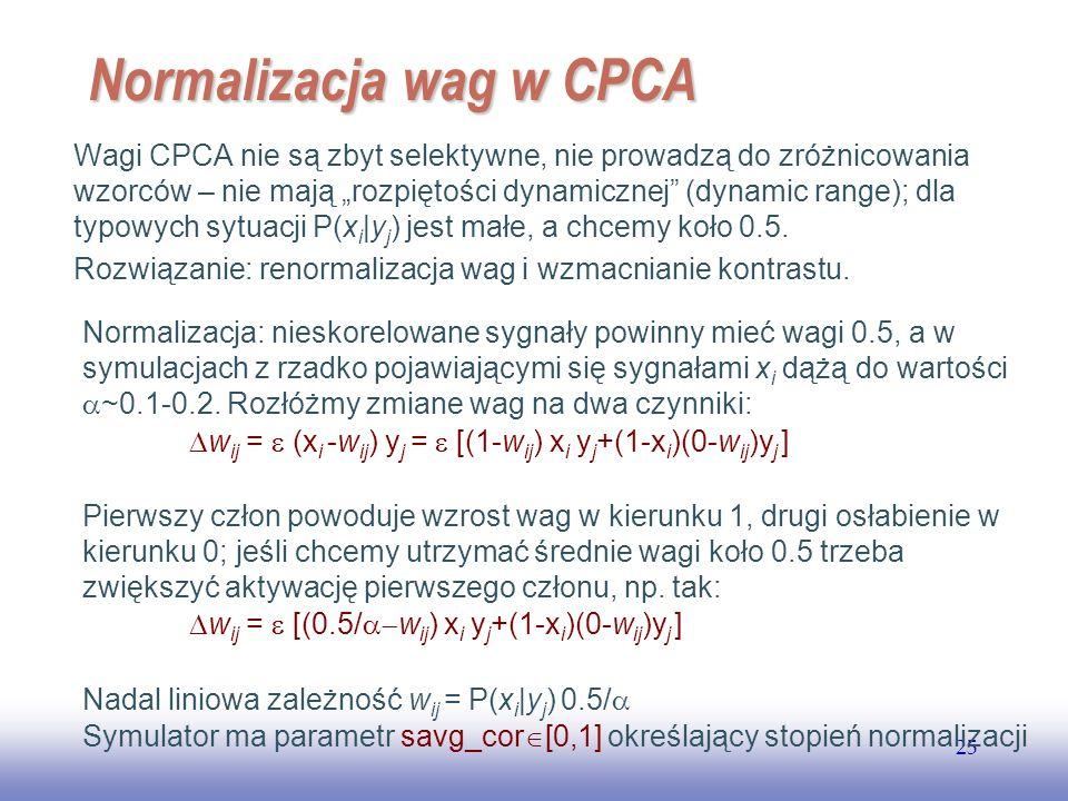 EE141 25 Normalizacja wag w CPCA Wagi CPCA nie są zbyt selektywne, nie prowadzą do zróżnicowania wzorców – nie mają rozpiętości dynamicznej (dynamic range); dla typowych sytuacji P(x i |y j ) jest małe, a chcemy koło 0.5.