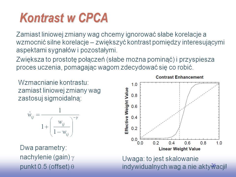 EE141 26 Kontrast w CPCA Zamiast liniowej zmiany wag chcemy ignorować słabe korelacje a wzmocnić silne korelacje – zwiększyć kontrast pomiędzy interesującymi aspektami sygnałów i pozostałymi.