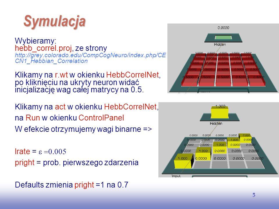 EE141 5 Symulacja Wybieramy: hebb_correl.proj, ze strony http://grey.colorado.edu/CompCogNeuro/index.php/CE CN1_Hebbian_Correlation Klikamy na r.wt w okienku HebbCorrelNet, po kliknięciu na ukryty neuron widać inicjalizację wag całej matrycy na 0.5.