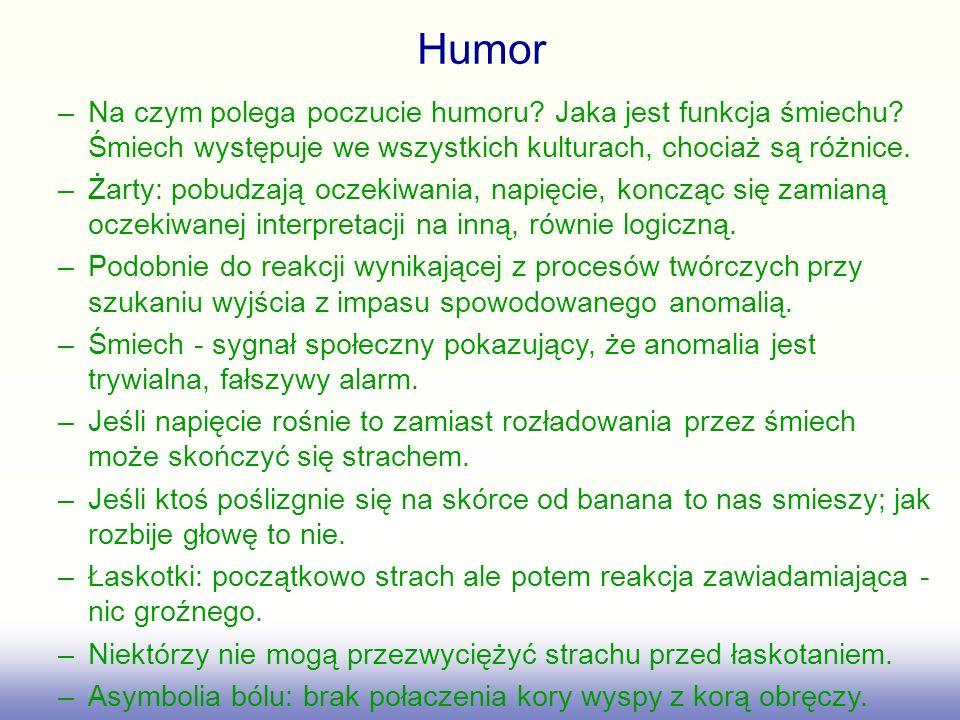 Humor –Na czym polega poczucie humoru? Jaka jest funkcja śmiechu? Śmiech występuje we wszystkich kulturach, chociaż są różnice. –Żarty: pobudzają ocze