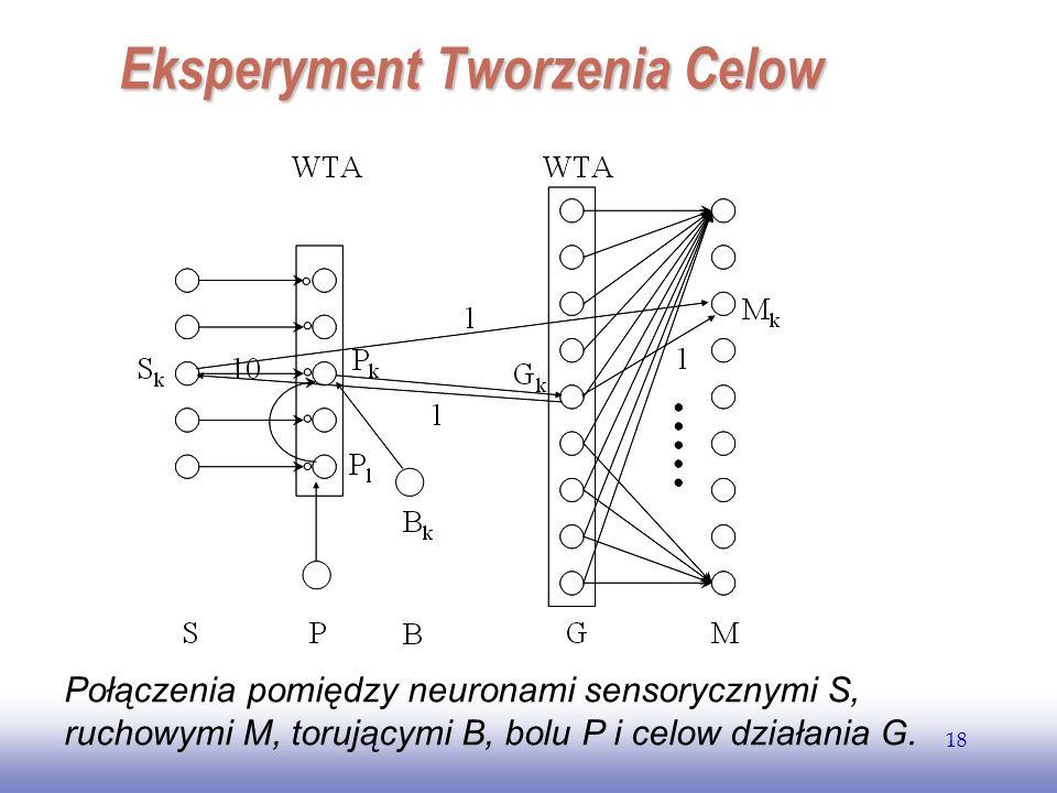 EE141 18 Połączenia pomiędzy neuronami sensorycznymi S, ruchowymi M, torującymi B, bolu P i celow działania G. Eksperyment Tworzenia Celow