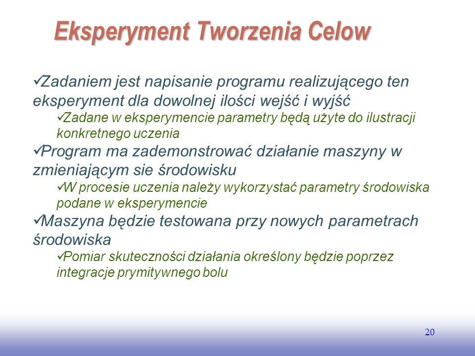 EE141 20 Zadaniem jest napisanie programu realizującego ten eksperyment dla dowolnej ilości wejść i wyjść Zadane w eksperymencie parametry będą użyte