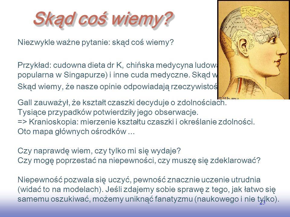 EE141 23 Skąd coś wiemy? Niezwykle ważne pytanie: skąd coś wiemy? Przykład: cudowna dieta dr K, chińska medycyna ludowa (bardzo popularna w Singapurze