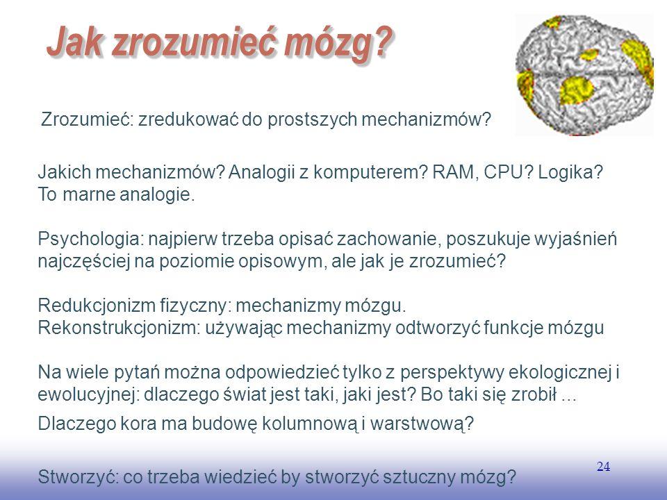 EE141 24 Jak zrozumieć mózg? Zrozumieć: zredukować do prostszych mechanizmów? Jakich mechanizmów? Analogii z komputerem? RAM, CPU? Logika? To marne an