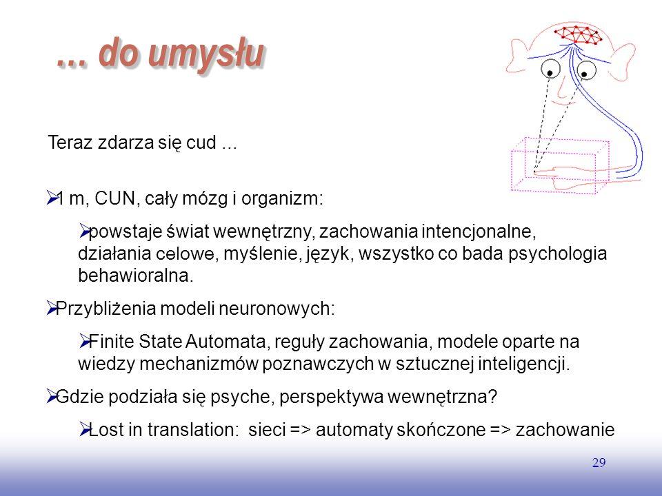 EE141 29 … do umysłu … do umysłu Teraz zdarza się cud... 1 m, CUN, cały mózg i organizm: powstaje świat wewnętrzny, zachowania intencjonalne, działani