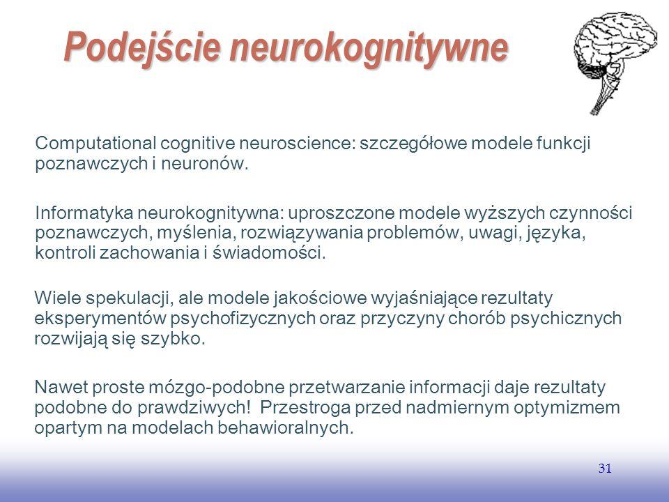 EE141 31 Podejście neurokognitywne Computational cognitive neuroscience: szczegółowe modele funkcji poznawczych i neuronów. Informatyka neurokognitywn