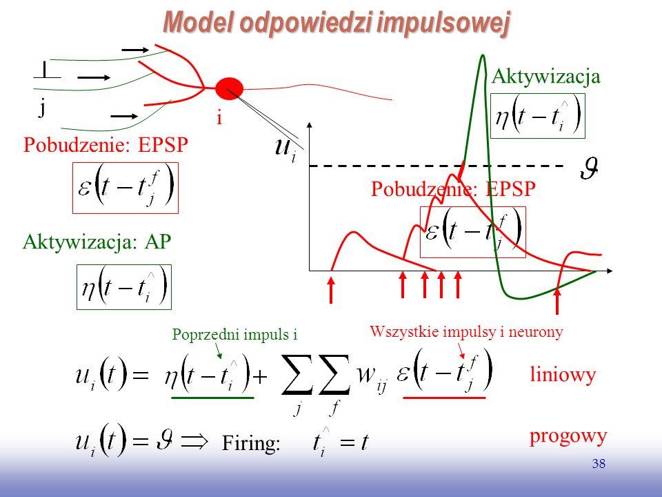 EE141 38 Pobudzenie: EPSP Model odpowiedzi impulsowej i j Pobudzenie: EPSP Aktywizacja: AP Firing: liniowy progowy Aktywizacja Poprzedni impuls i Wszy