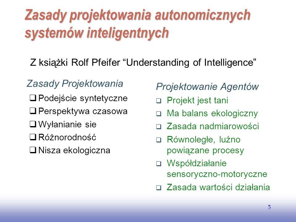 EE141 5 Zasady projektowania autonomicznych systemów inteligentnych Zasady Projektowania Podejście syntetyczne Perspektywa czasowa Wyłanianie sie Różn