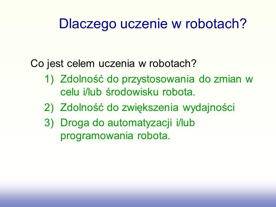 Dlaczego uczenie w robotach. Co jest celem uczenia w robotach.