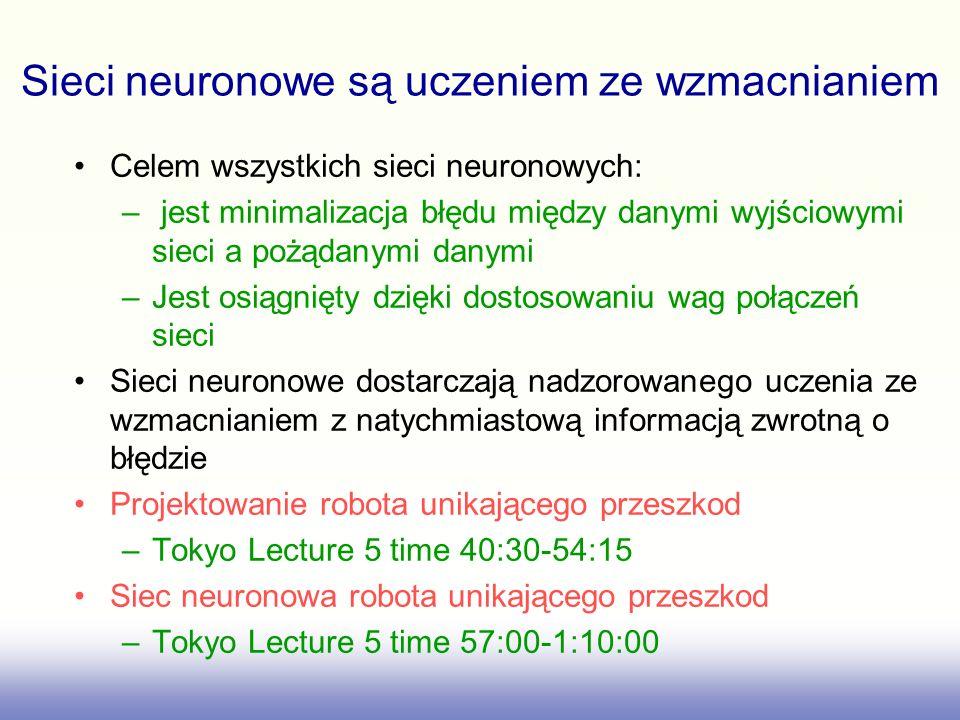 Sieci neuronowe są uczeniem ze wzmacnianiem Celem wszystkich sieci neuronowych: – jest minimalizacja błędu między danymi wyjściowymi sieci a pożądanymi danymi –Jest osiągnięty dzięki dostosowaniu wag połączeń sieci Sieci neuronowe dostarczają nadzorowanego uczenia ze wzmacnianiem z natychmiastową informacją zwrotną o błędzie Projektowanie robota unikającego przeszkod –Tokyo Lecture 5 time 40:30-54:15 Siec neuronowa robota unikającego przeszkod –Tokyo Lecture 5 time 57:00-1:10:00