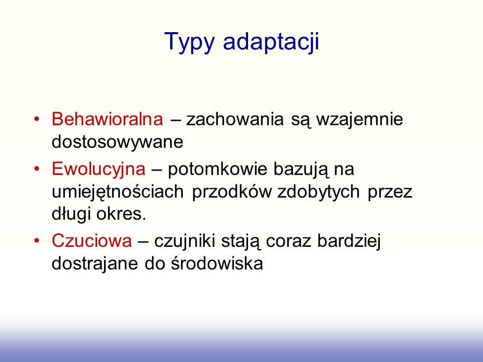 Typy adaptacji Behawioralna – zachowania są wzajemnie dostosowywane Ewolucyjna – potomkowie bazują na umiejętnościach przodków zdobytych przez długi okres.