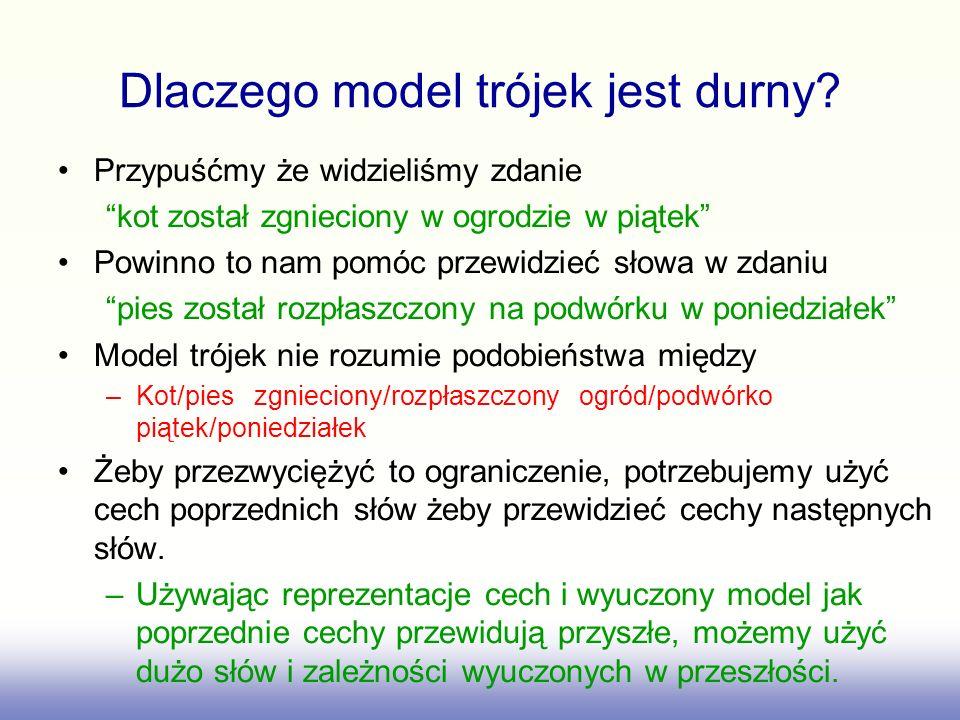 Siec neuronowa Bengio do przewidywania następnych slow jednostki Softmax (jedna na każde słowo) Index słowa dla t-2Index słowa dla t-1 Wyuczony rozproszony kod słowa t-2 Wyuczony rozproszony kod słowa t-1 Jednostki które uczą się przewidywać słowa wyjściowe na podstawie cech słów wejściowych wyjście wejścia Look-up table Opuszczone polaczenia warstw