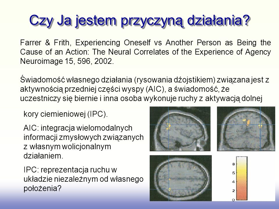 Czy Ja jestem przyczyną działania? Farrer & Frith, Experiencing Oneself vs Another Person as Being the Cause of an Action: The Neural Correlates of th