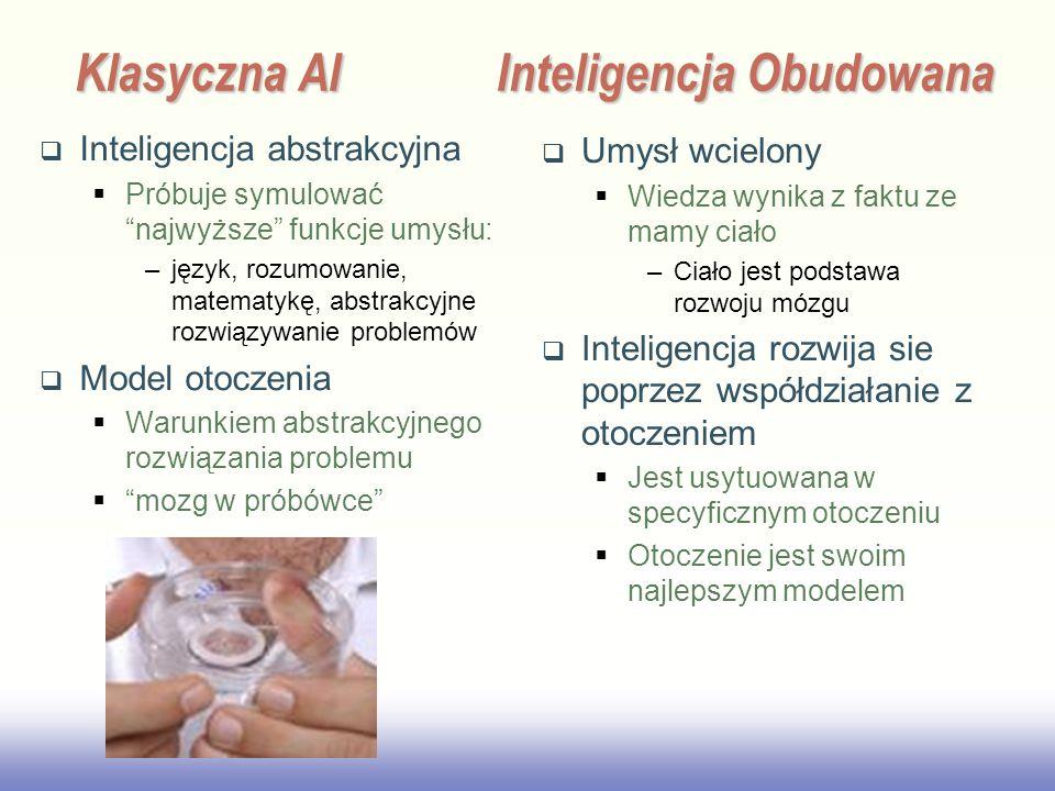 EE141 Klasyczna AIInteligencja Obudowana Inteligencja abstrakcyjna Próbuje symulować najwyższe funkcje umysłu: –język, rozumowanie, matematykę, abstrakcyjne rozwiązywanie problemów Model otoczenia Warunkiem abstrakcyjnego rozwiązania problemu mozg w próbówce Umysł wcielony Wiedza wynika z faktu ze mamy ciało –Ciało jest podstawa rozwoju mózgu Inteligencja rozwija sie poprzez współdziałanie z otoczeniem Jest usytuowana w specyficznym otoczeniu Otoczenie jest swoim najlepszym modelem