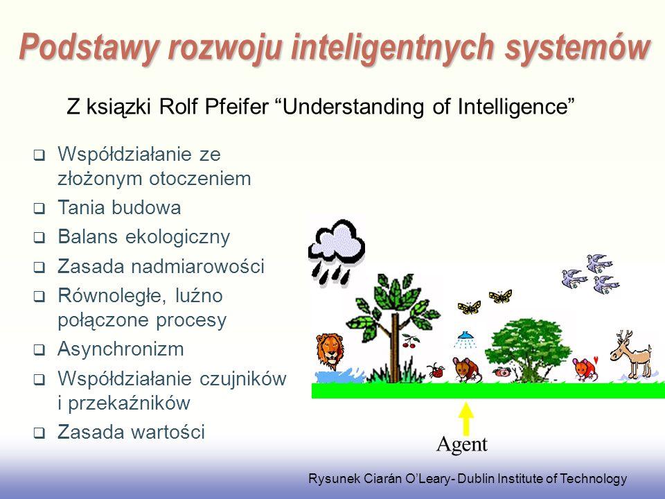 EE141 Podstawy rozwoju inteligentnych systemów Współdziałanie ze złożonym otoczeniem Tania budowa Balans ekologiczny Zasada nadmiarowości Równoległe, luźno połączone procesy Asynchronizm Współdziałanie czujników i przekaźników Zasada wartości Agent Rysunek Ciarán OLeary- Dublin Institute of Technology Z ksiązki Rolf Pfeifer Understanding of Intelligence