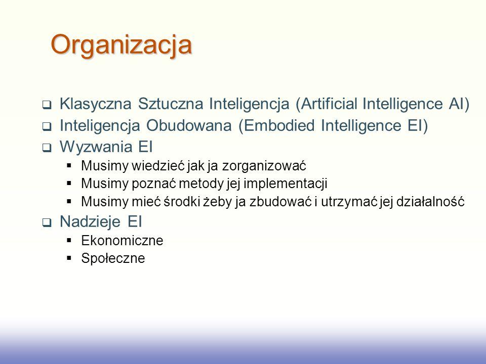EE141 Klasyczna Sztuczna Inteligencja (Artificial Intelligence AI) Inteligencja Obudowana (Embodied Intelligence EI) Wyzwania EI Musimy wiedzieć jak ja zorganizować Musimy poznać metody jej implementacji Musimy mieć środki żeby ja zbudować i utrzymać jej działalność Nadzieje EI Ekonomiczne Społeczne Organizacja