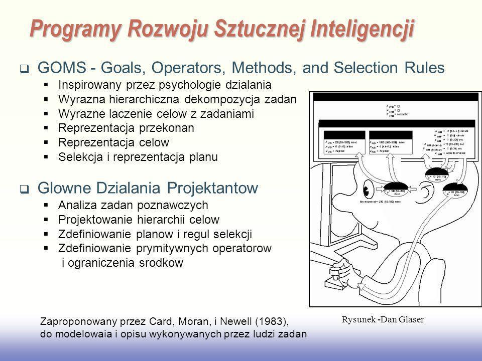 EE141 GOMS - Goals, Operators, Methods, and Selection Rules Inspirowany przez psychologie dzialania Wyrazna hierarchiczna dekompozycja zadan Wyrazne l