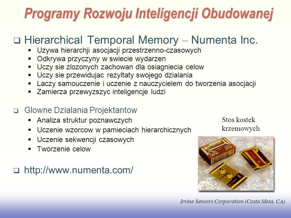 EE141 Hierarchical Temporal Memory – Numenta Inc. Uzywa hierarchji asocjacji przestrzenno-czasowych Odkrywa przyczyny w swiecie wydarzen Uczy sie zloz