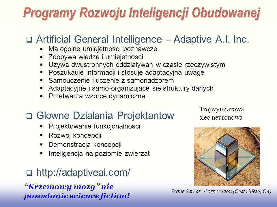 EE141 Artificial General Intelligence – Adaptive A.I. Inc. Ma ogolne umiejetnosci poznawcze Zdobywa wiedze i umiejetnosci Uzywa dwustronnych oddzialyw