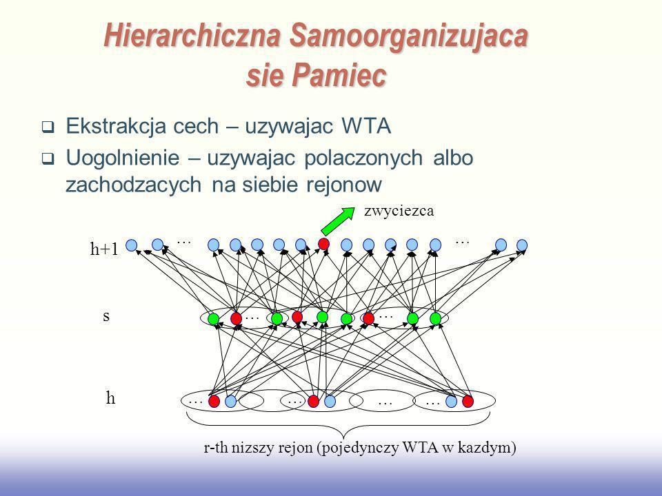 EE141 Ekstrakcja cech – uzywajac WTA Uogolnienie – uzywajac polaczonych albo zachodzacych na siebie rejonow Hierarchiczna Samoorganizujaca sie Pamiec