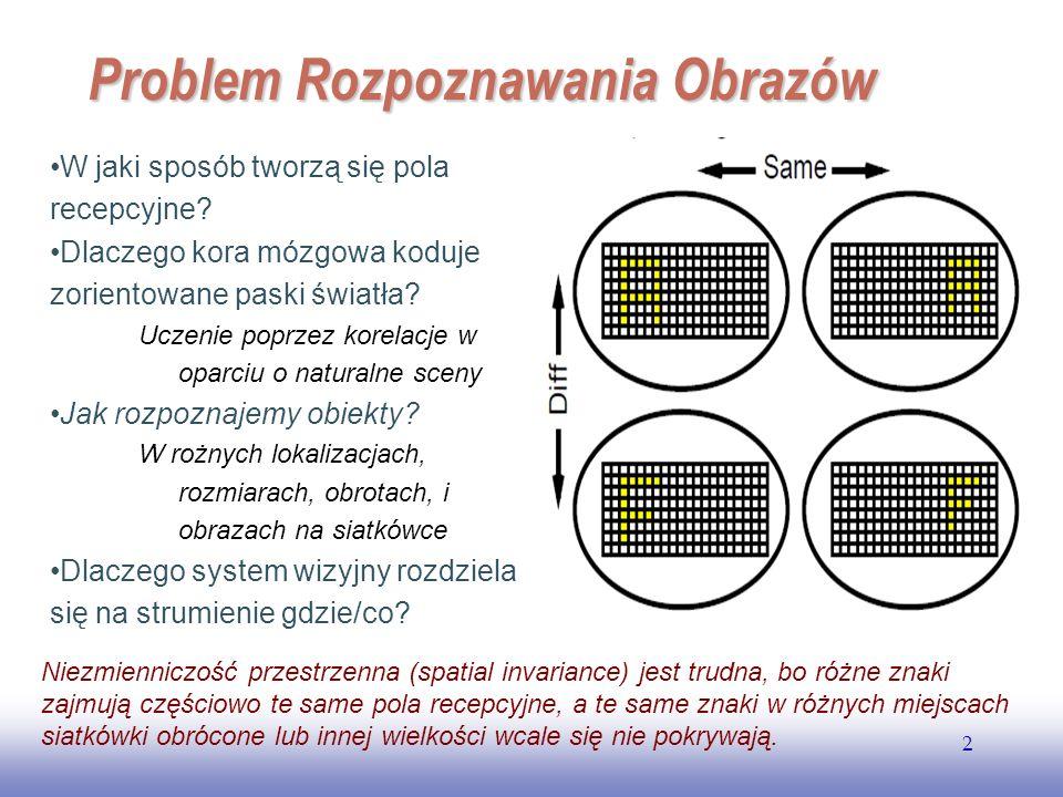 EE141 2 Problem Rozpoznawania Obrazów W jaki sposób tworzą się pola recepcyjne? Dlaczego kora mózgowa koduje zorientowane paski światła? Uczenie poprz