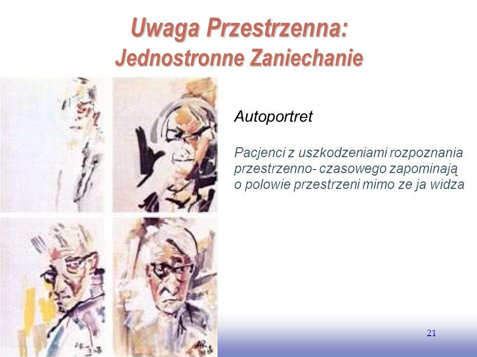 EE141 21 Uwaga Przestrzenna: Jednostronne Zaniechanie Autoportret Pacjenci z uszkodzeniami rozpoznania przestrzenno- czasowego zapominają o polowie pr