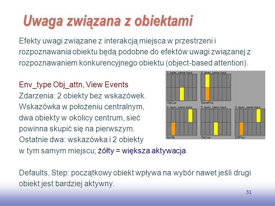EE141 31 Uwaga związana z obiektami Efekty uwagi związane z interakcją miejsca w przestrzeni i rozpoznawania obiektu będą podobne do efektów uwagi zwi