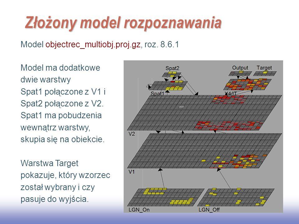 EE141 33 Złożony model rozpoznawania Model objectrec_multiobj.proj.gz, roz. 8.6.1 Model ma dodatkowe dwie warstwy Spat1 połączone z V1 i Spat2 połączo