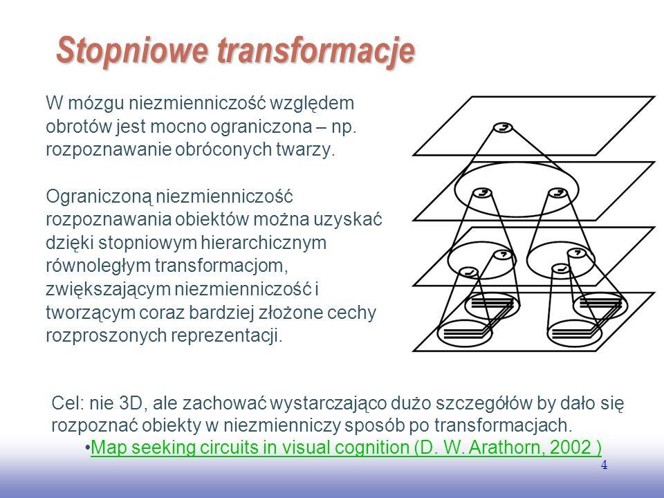 EE141 4 Stopniowe transformacje W mózgu niezmienniczość względem obrotów jest mocno ograniczona – np. rozpoznawanie obróconych twarzy. Ograniczoną nie