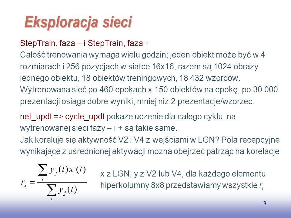 EE141 8 Eksploracja sieci StepTrain, faza – i StepTrain, faza + Całość trenowania wymaga wielu godzin; jeden obiekt może być w 4 rozmiarach i 256 pozy