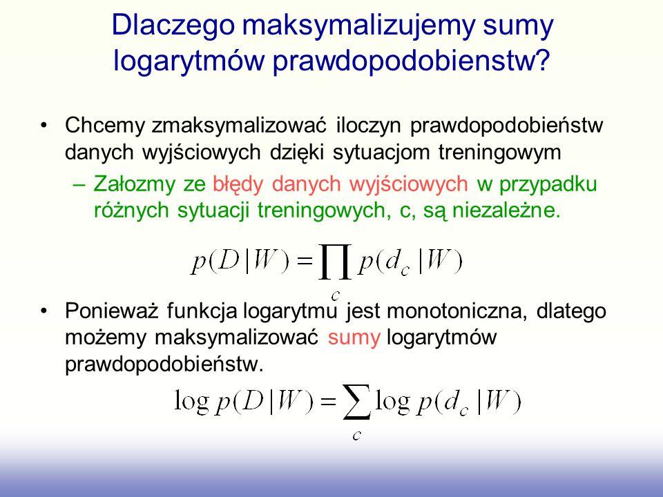 Maksymalizacja warunku prawdopodobieństwa (maximum likelihood learning) Minimalizacja błędu sumy kwadratow jest równoznaczna z maksymalizacją logarytmów prawdopodobieństwa poprawnej odpowiedzi przy zalozeniu rozkladu Gaussa wokol zalozonego modelu.