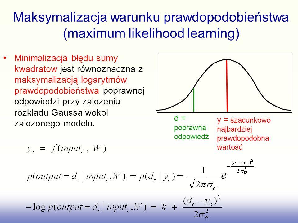 Znalezienie zbioru wag, W, które zminimalizują błąd sumy kwadratow jest dokładnie tym samym co znalezienie takiego W, które maksymalizuje logarytm prawdopodobieństwa tego że model będzie dostarczał pożądanych wyjśc we wszystkich sytuacjach treningowych.