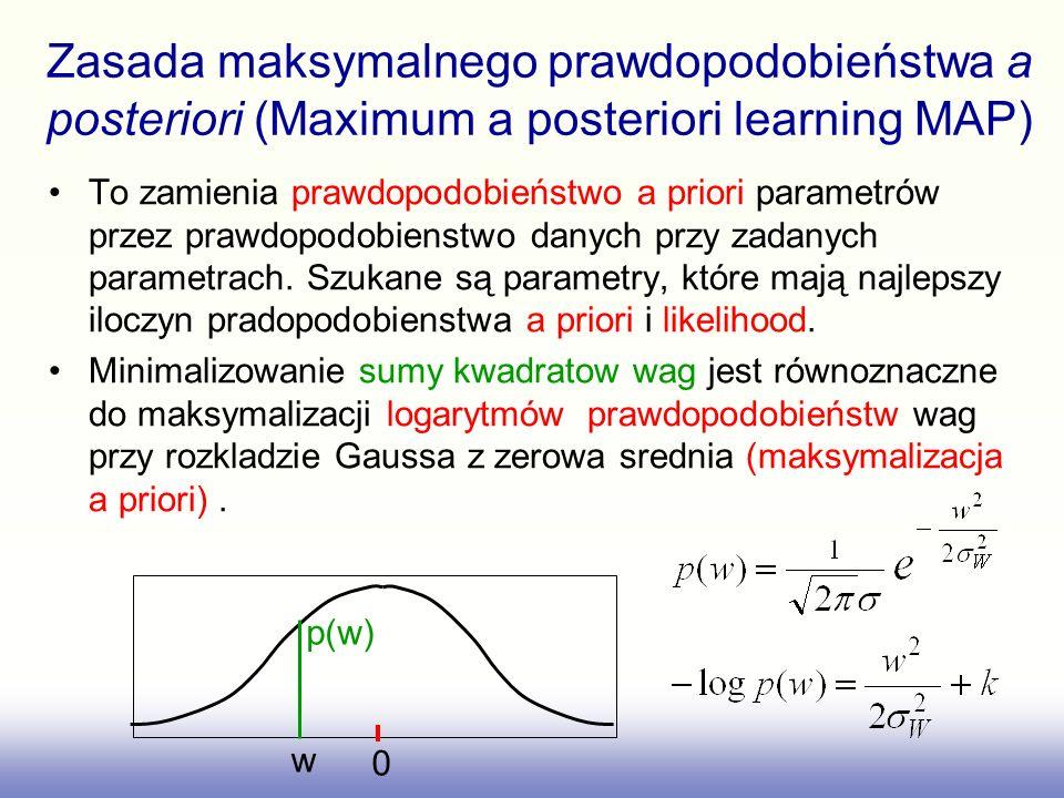 Zasada maksymalnego prawdopodobieństwa a posteriori (MAP learning) Maksymalizacja prawdopodobieństwo a posteriori jest równoznaczna z minimalizacja regularyzowanej funkcji sumy kwadratów błędów z parametrem regularyzującym lub minimalizującą funkcji kosztow 0 w p(w)