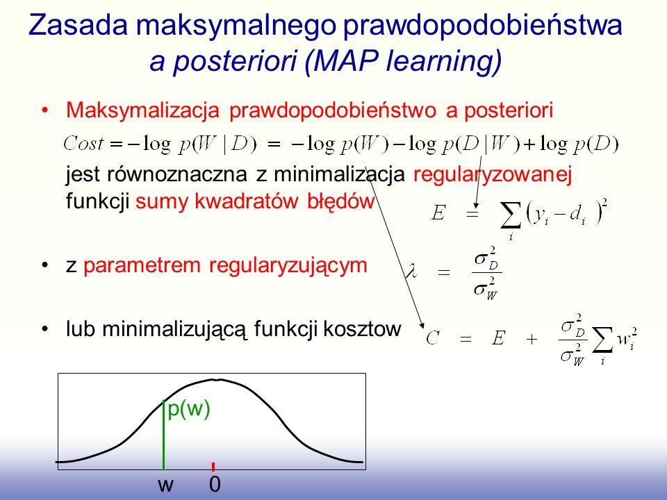 Zasada maksymalnego prawdopodobieństwa a posteriori (MAP learning) Maksymalizacja prawdopodobieństwo a posteriori jest równoznaczna z minimalizacja re