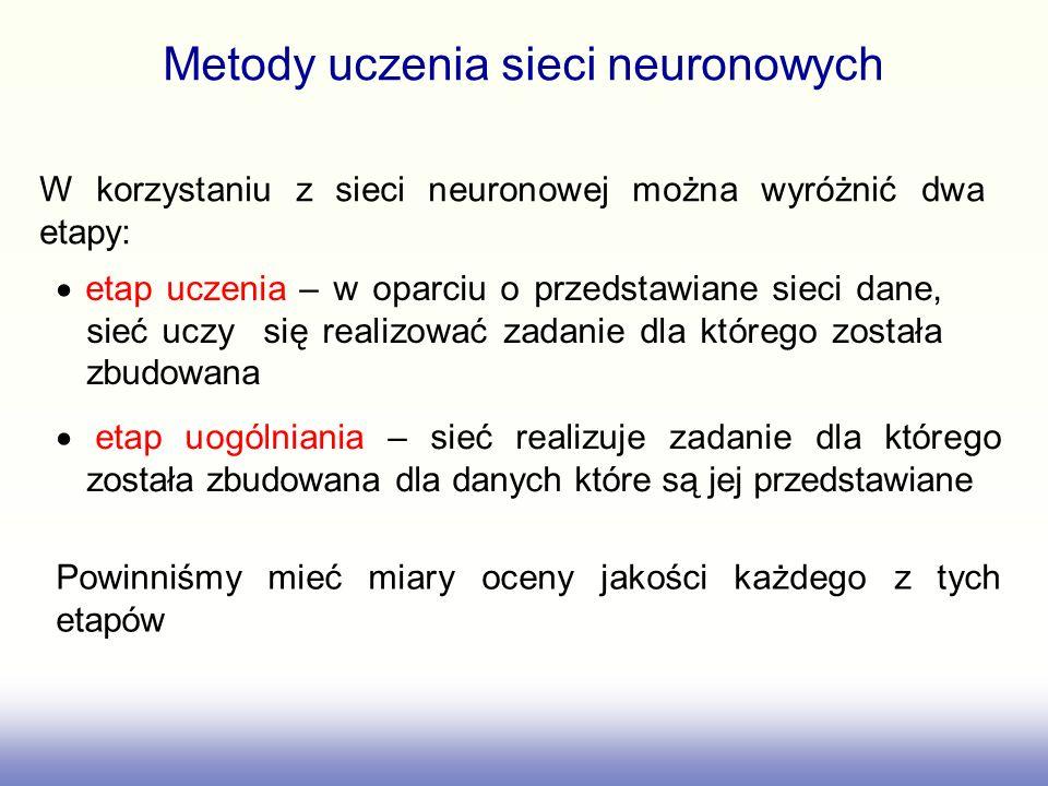 Metody uczenia sieci neuronowych W korzystaniu z sieci neuronowej można wyróżnić dwa etapy: etap uczenia – w oparciu o przedstawiane sieci dane, sieć