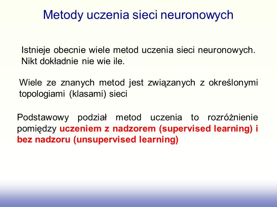 Metody uczenia sieci neuronowych Istnieje obecnie wiele metod uczenia sieci neuronowych. Nikt dokładnie nie wie ile. Podstawowy podział metod uczenia