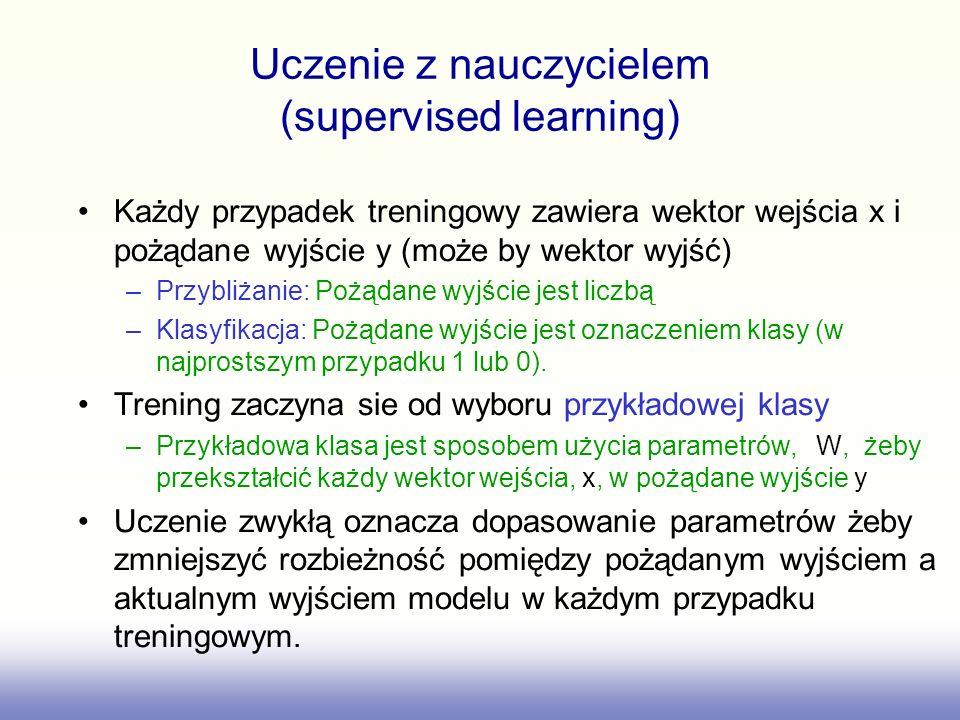 Każdy przypadek treningowy zawiera wektor wejścia x i pożądane wyjście y (może by wektor wyjść) –Przybliżanie: Pożądane wyjście jest liczbą –Klasyfika