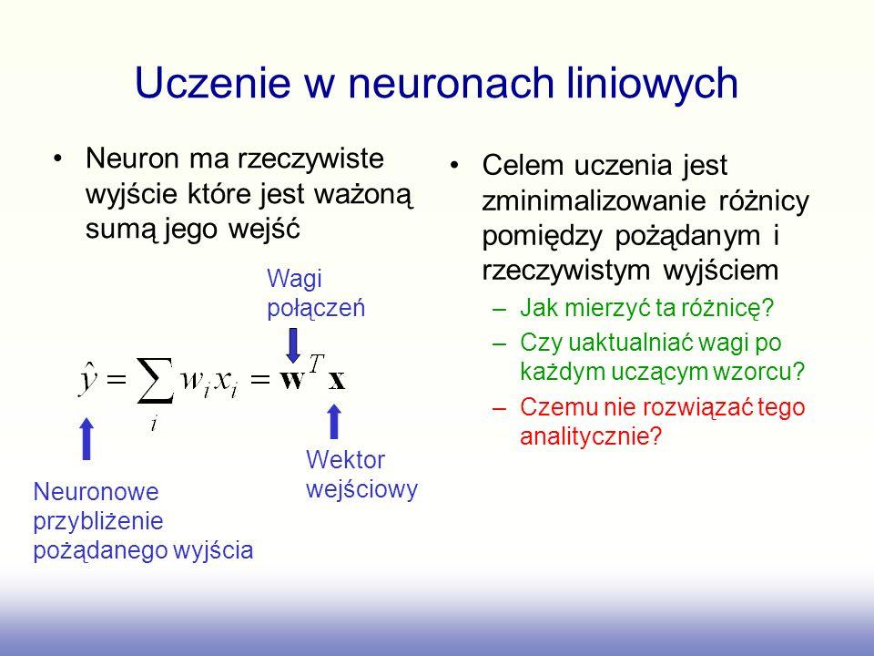 Uczenie w neuronach liniowych Neuron ma rzeczywiste wyjście które jest ważoną sumą jego wejść Celem uczenia jest zminimalizowanie różnicy pomiędzy poż