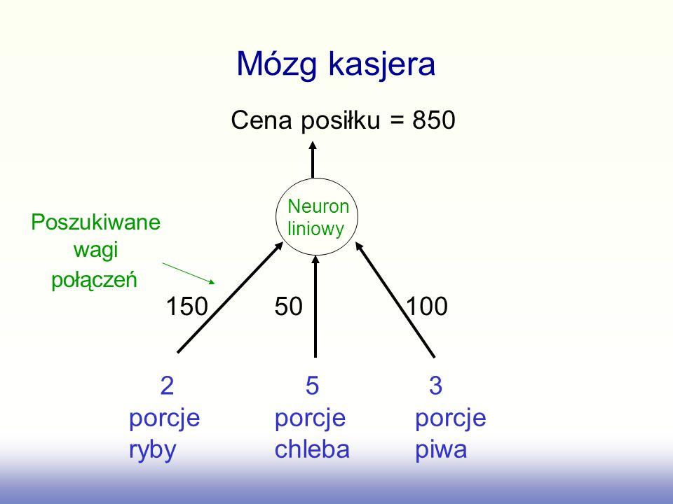 Mózg kasjera Cena posiłku = 850 porcje ryby porcje chleba porcje piwa 150 50 100 2 5 3 Neuron liniowy Poszukiwane wagi połączeń